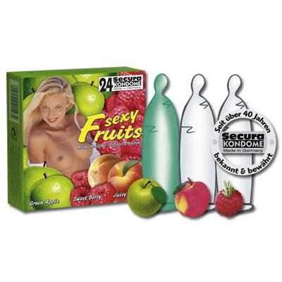 Image of 3 condooms met fruit smaak