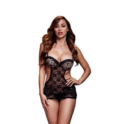 Image of baci - luipaard lace cut out basque no panty one size