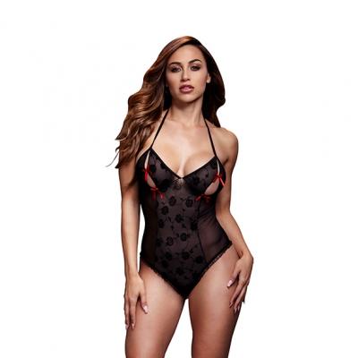 Image of baci - zwart lace bodysuit / bra slits red bow one size