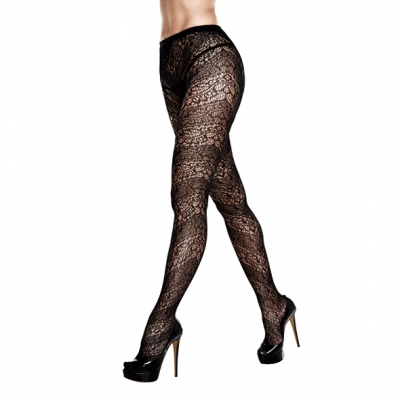 Image of baci - floral lace pantyhose queen size