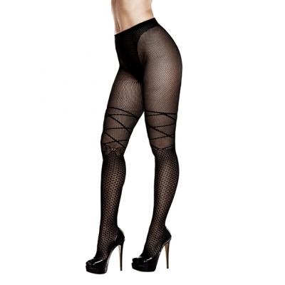 Image of baci - ribbon and bow jacquard pantyhose queen size