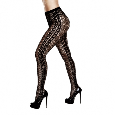 Image of baci - braided jacquard pantyhose queen size
