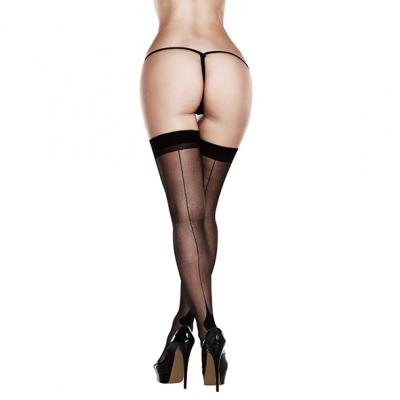Baci - Sheer Cuban Heel Thigh Highs Queen Size
