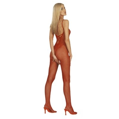 Catsuit With Open Crotch + Back - Visnet Rood