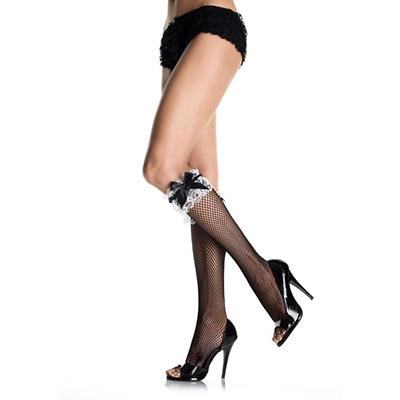 Leg Avenue Europe Fishnet Knee Highs Black/white - One Size
