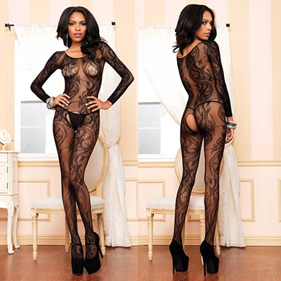 Swirl Lace Bodystocking one size Zwart