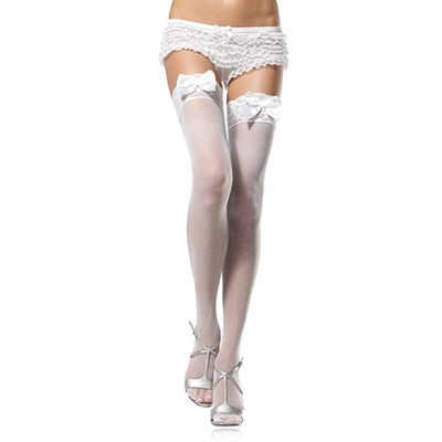 Leg Avenue Sheer Thigh High Nylon Stocking With Lace Top And Satin Bow - Wit