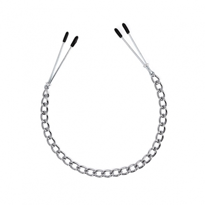 Opwindende tweezer tepelklemmen met ketting. de metalen klemmetjes zijn verstelbaar door een metalen ringetje....